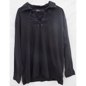 Vintage Lace Up Black Collared Long Sleeve Shirt